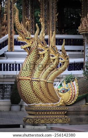 Banister of The Great Serpent at Wat Nang Sao - Samut Sakhon, Thailand - stock photo