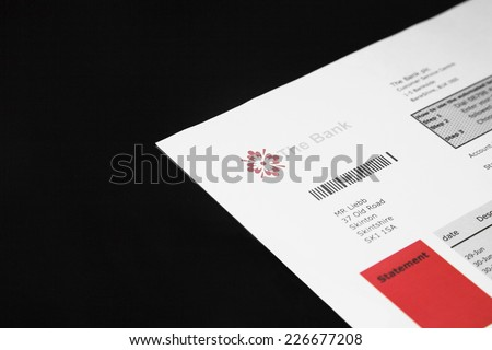 Bank and credit card statement - stock photo