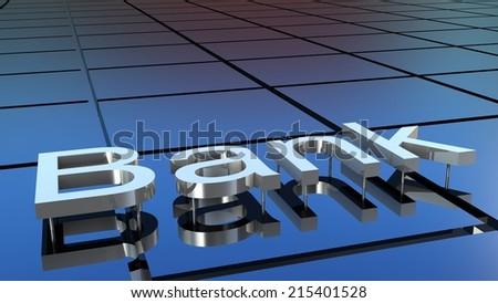 Bank building, 3D images - stock photo