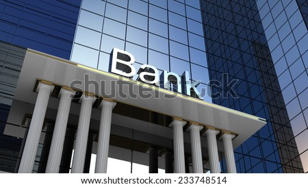 Bank building, 3D images - stock photo