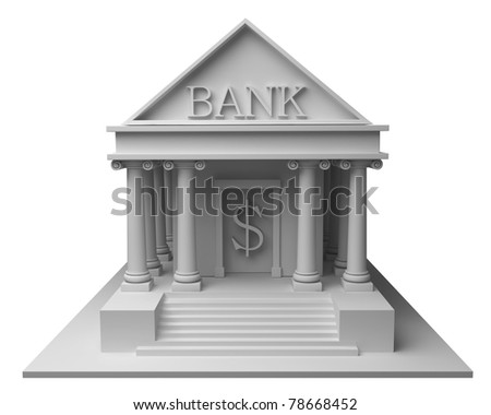 Bank building  3d on white - stock photo