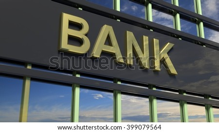 Bank building sign closeup, with sky reflecting in the glass. 3d rendering - stock photo