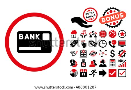Bank Card pictograph with bonus clip art. Glyph illustration style is flat iconic bicolor symbols, intensive red and black colors, white background.
