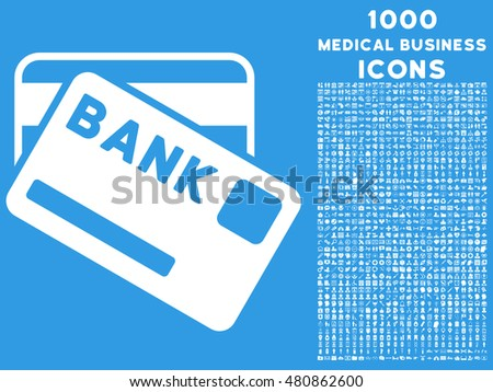 Bank Cards raster icon with 1000 medical business icons. Set style is flat pictograms, white color, blue background.