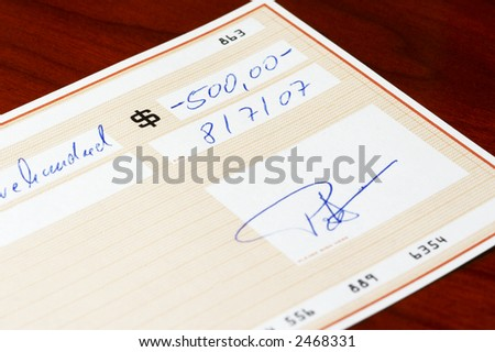 bank check - stock photo