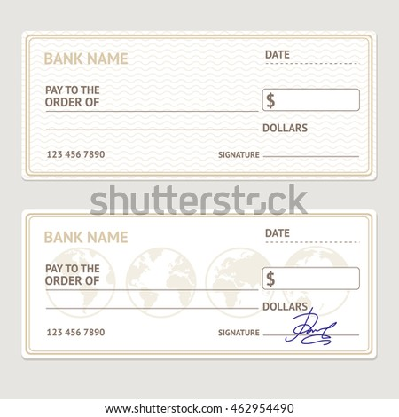 bank check template set blank form stock illustration 462954490