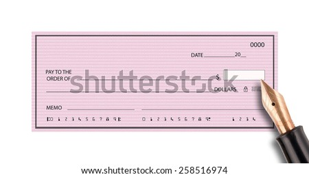 Bank check with pen - stock photo