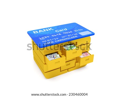 Bank credit card with microchip (golden simcard) in the form of desk with money (dollar, euro and yuan bills) in the drawers. Finance business banking creative concept - stock photo