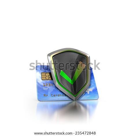 Bank credit cards secured with shield as a sybmol of protection