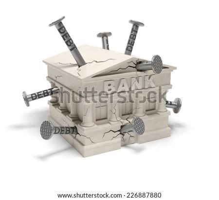 Bank debts (creative concept): banking house (building) in the cracks (splits) with hammered nails as symbol of indebtness of bank, accumulating arrears, bank smash, financial crisis, market crash - stock photo