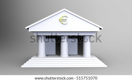 Bank Illustration made in 3d on a white background