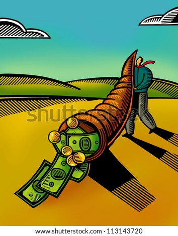 Bank notes and coins falling out of a horn of plenty - stock photo