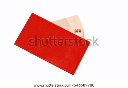 Bank notes in red envelope as gift for Chinese New festival on white background