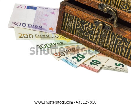 Bank notes under the box  isolated on white background. Business concept. Some money.Colorful euros on white background.Success and got profit from business  with euromoney. - stock photo