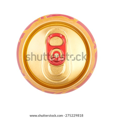 Bank of beer, view from the top of the lid. Isolated on white background - stock photo