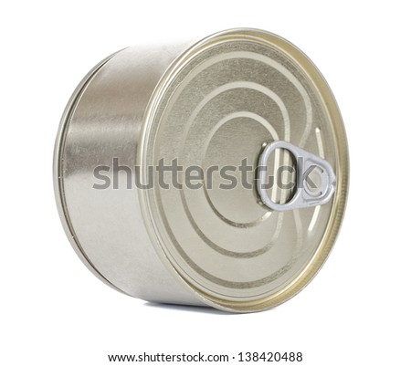 Bank of canned food. Isolated on white.