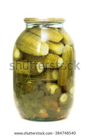 Bank of cucumbers on a white background