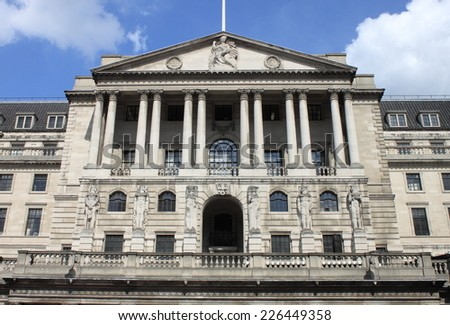 Bank of England building in London, UK