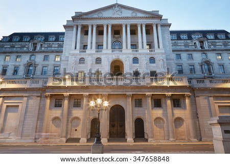Bank of England facade in London in the evening