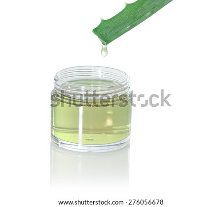 Bank of juice with aloe and aloe leaf, isolated on white - stock photo