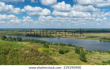 Bank of Oka river near Konstantinovo village. Central Russia, Ryazan region - stock photo