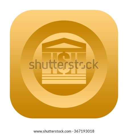 Bank or stock market icon with classical building and dollar mark - stock photo