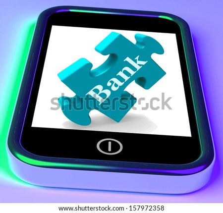 Bank Phone Showing Online Or Electronic Banking Transactions - stock photo