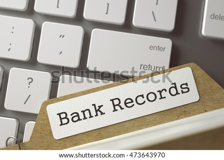 Bank Records. Card File Lays on Computer Keyboard. Business Concept. Closeup View. Toned Blurred  Illustration. 3D Rendering.