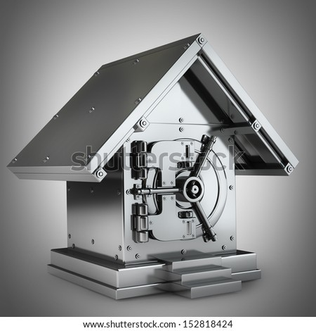 Bank Safe in form houses High resolution 3d render  - stock photo