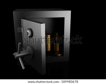 Bank safe with gold coins. Protection concept. - stock photo