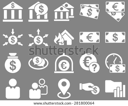 Bank service and trade business icon set. These flat symbols use white color. Clipart images are isolated on a gray background. Angles are rounded. - stock photo