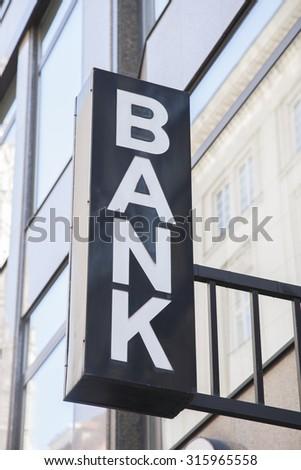 Bank Sign in Urban Setting - stock photo
