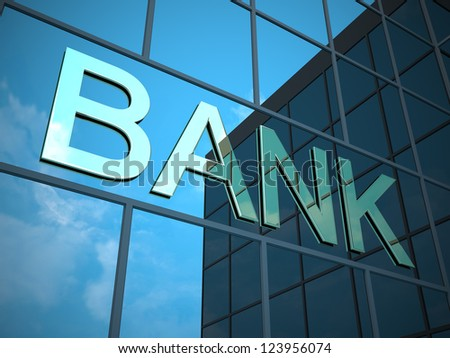 Bank sign on building - stock photo