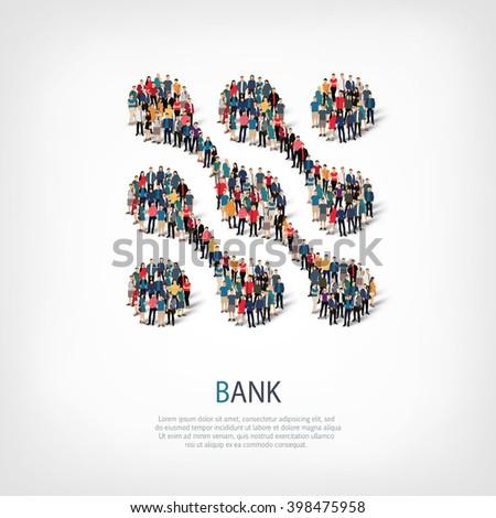 bank symbol people crowd - stock photo