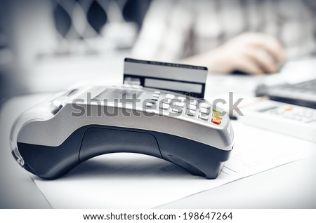 Bank terminal - stock photo