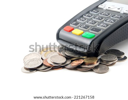 bank terminal  and coins,isolated on white - stock photo