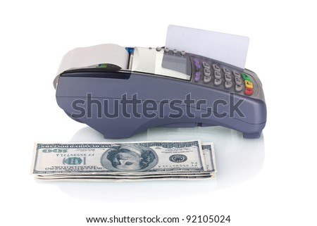 bank terminal, credit card and money isolated on white - stock photo