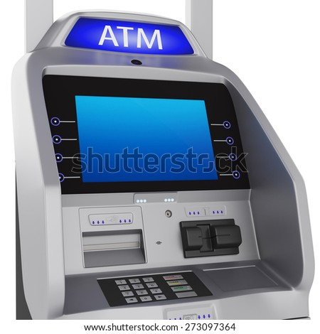 Bank terminal. Modern style on a white background. ATM cash terminal with display - stock photo