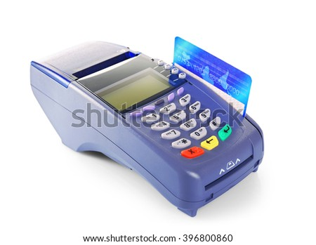 Bank terminal with credit card, isolated on white - stock photo