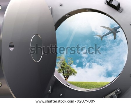 Bank vault and Flight to paradise - stock photo