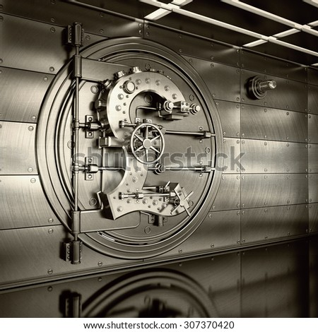 Bank Vault Door. Business concept. currency British pound symbol and banking safe. High resolution 3D