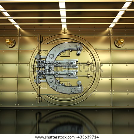 Bank Vault Door. Business concept. currency euro symbol and banking safe. High resolution 3D