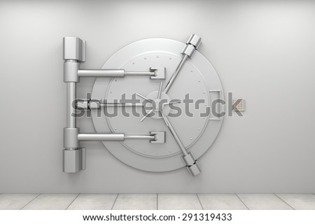 Bank vault door. Closed safe. Safety, isurance and security of savings and investments concept. Protection against robbery and breaking in.