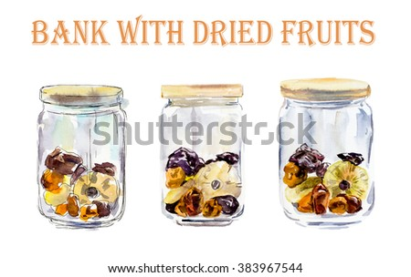 Bank with dried fruits. Watercolor hand drawn illustration.  - stock photo
