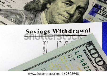 Bank withdrawal slip from savings account - stock photo