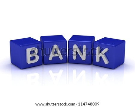 BANK word on blue cubes on an isolated white background