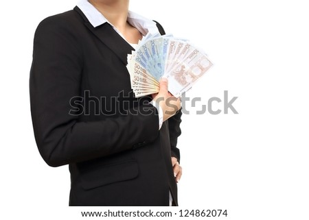 Banker in black business suit holding Euro bills - stock photo