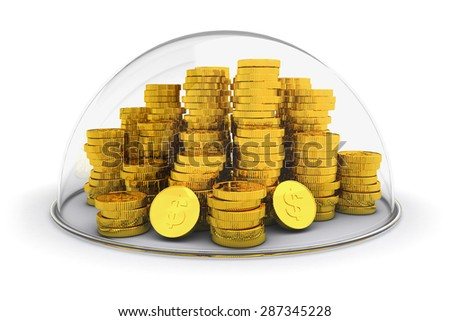 Banking account, money deposit protection and financial insurance concept, stack of golden coins under the dome isolated on white background