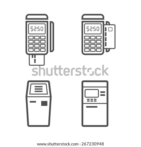 Banking and money terminal line style  icon set - stock photo