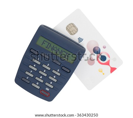 Banking at home, card reader for reading a bank card - Finance